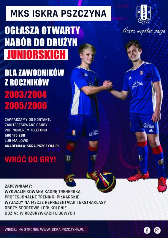 Otwarty nabór do drużyn juniorskich w MKS Iskra Pszczyna